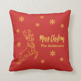 Santa's reindeer snowflakes in red and faux gold cushion