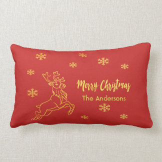 Santa's reindeer snowflakes in red and faux gold lumbar cushion
