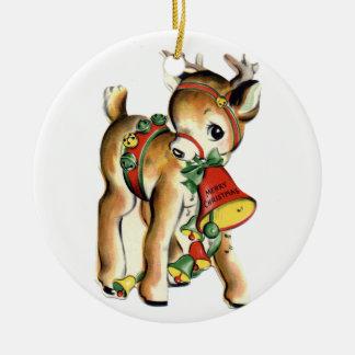 Santa's Reindeer Vintage Ornament