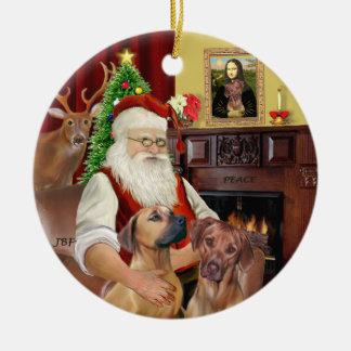 Santas Rhodesian Ridgebacks (TWO) Christmas Ornament