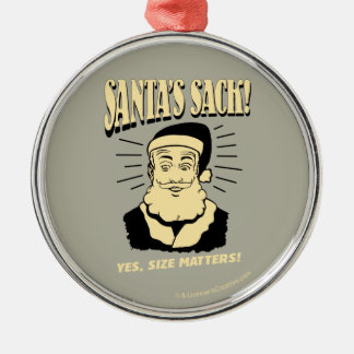 Santa's Sack: Yes, Size Matters Silver-Colored Round Decoration