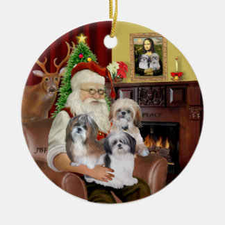 Santa's Shih Tzus (THREE) Christmas Ornament