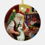 Santa's Siberian Husky #3 Round Ceramic Decoration