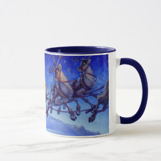 Santa's sleigh and reindeer in flight mug