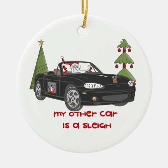 Santa's Sleigh-Black Christmas Ornament