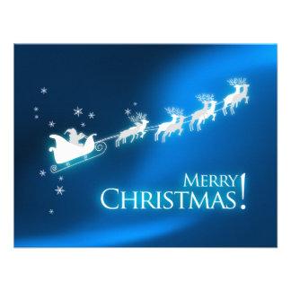 Santa's Sleigh Blue Christmas Party invitation