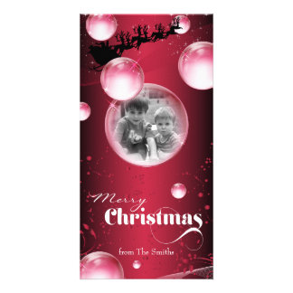 Santa's Sleigh Bubble Christmas Holiday Photo Card