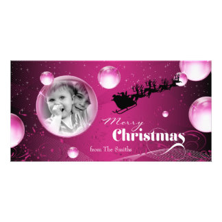 Santa's Sleigh Bubble Holiday Christmas Photo Card