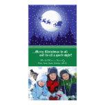 Santa's Sleigh Custom Holiday Photocard (green) Customized Photo Card