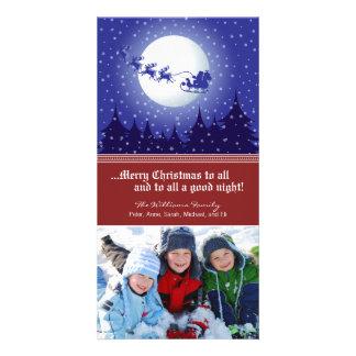Santa's Sleigh Custom Holiday Photocard (red) Card