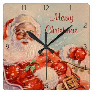 Santas Sleigh Ride Vintage Christmas Clock