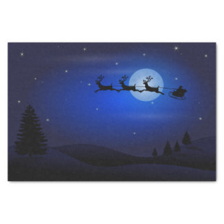 Santa's Sleigh Silhouette in Moonlight Tissue Paper