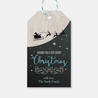 Santa's Sleigh Silhouette Personalized Gift Tags