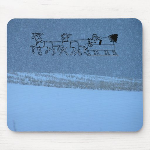 Santa's Sleigh - White Out Snow Storm Mouse Pad