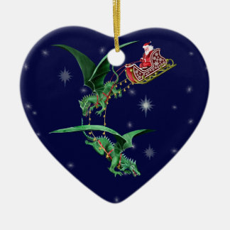 Santa's Sleigh with Dragons Christmas Ornament