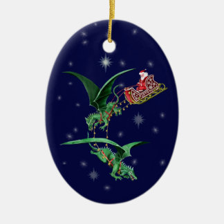 Santa's Sleigh with Dragons Christmas Ornament