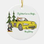 Santa's Sleigh-Yellow Christmas Ornaments