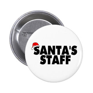 Santas Staff 6 Cm Round Badge