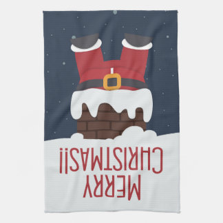 Santa's Stuck in the Chimney Tea Towel