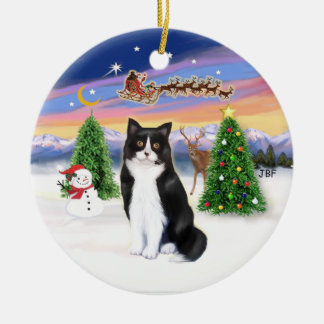 Santas Take Off - Black and White cat (ASH) Christmas Ornament
