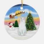 Santas Take Off - White cat (American SH) Christmas Ornaments