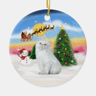 Santas Take Off - White Persian cat Christmas Ornament