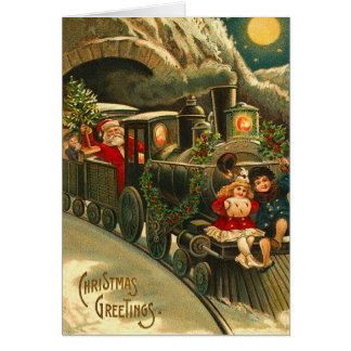 Santa's Train Christmas Card