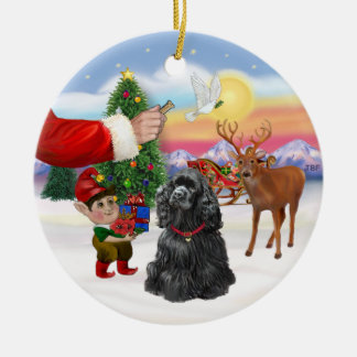 Santas Treat - Black Cocker Spaniel Christmas Ornament