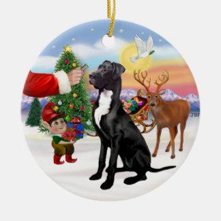 Santas Treat - Black Great Dane Christmas Ornament
