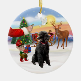 Santa's Treat - Black Standard Poodle Christmas Ornament