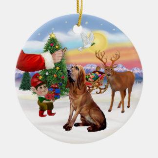 Santas Treat - Bloodhound Round Ceramic Decoration