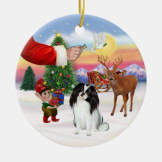 Santas Treat - Japanese Chin Double-Sided Ceramic Round Christmas Ornament