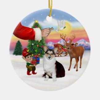 Santa's Treat  - Welsh Corgi (tri color) Christmas Ornament