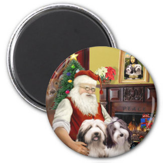 Santa's Two Bearded Collies Magnet