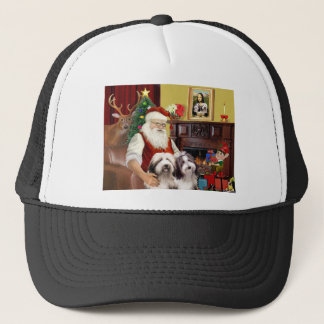 Santa's Two Bearded Collies Trucker Hat
