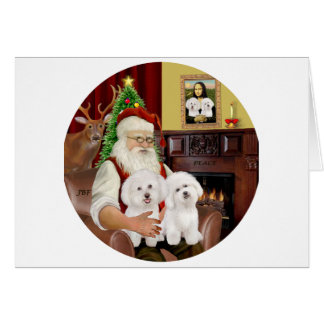 Santa's Two Bichon Frise Card