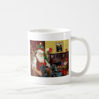 Santa's Two Flat Coated Retrievers Coffee Mug