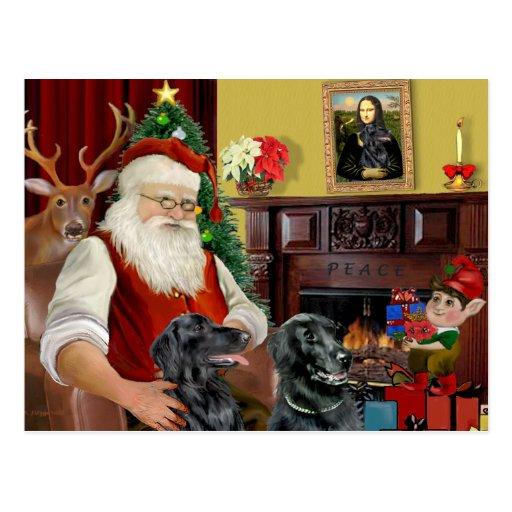 Santa's Two Flat Coated Retrievers Post Card