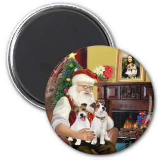 Santa's Two Jack Russell Terriers Magnet
