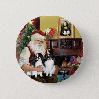Santa's Two Japanese Chins 6 Cm Round Badge