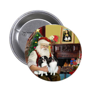 Santa's Two Japanese Chins 6 Cm Round Badge