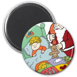 Santa's Visit II 6 Cm Round Magnet