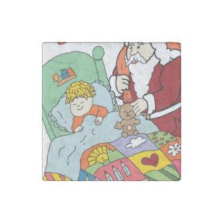 Santa's Visit II Stone Magnet