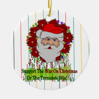 Santa's War On Xmas Round Ceramic Decoration