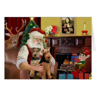 Santa's Welsh Terriers (TWO) Card