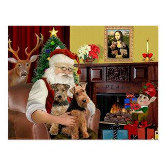 Santa's Welsh Terriers (TWO) Postcard