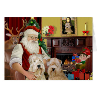 Santa's Wheaten Terriers (TWO) Card
