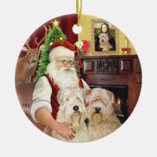 Santa's Wheaten terriers (TWO) Round Ceramic Decoration