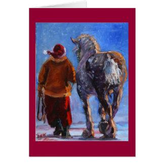 Santa's Wheeler with red border Card