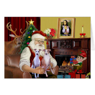 Santa's Whippets Greeting Card